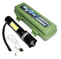Фонарик тактический мощный + лампа BL 9626 COB зарядка от usb micro charge аккумуляторный, фото 1