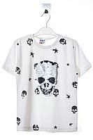 """Классная футболка для мальчика с принтом """"Череп"""" из пайеток. Состав 100% хлопок. Цвет молочный. Бренд ARS."""