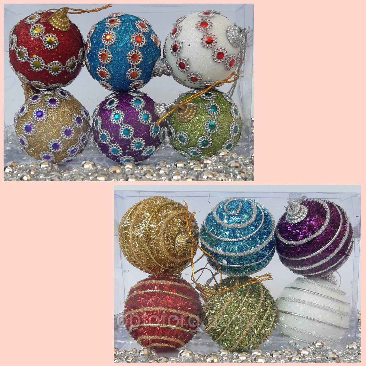Новогодние украшения на елку Набор Шары узор 6 штук 5 см