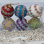 Новогодние украшения на елку Набор Шары узор 6 штук 5 см, фото 2