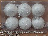 Новогодние украшения на елку Набор Шары узор 6 штук 5 см, фото 4