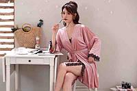 Велюровый домашний комплект халат и пеньюар с черным кружевом розовый L (46)
