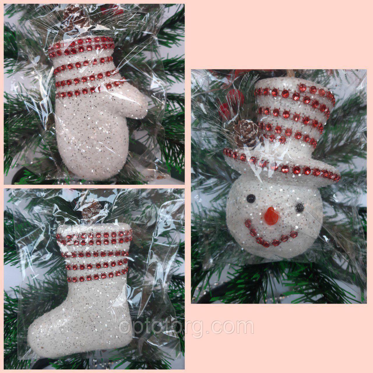 Новогодние украшения на елку Набор Снеговик 3 штуки