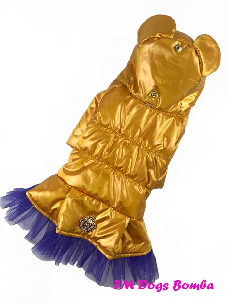 Куртка с ушами и фатином желтая для собак DogsBomba