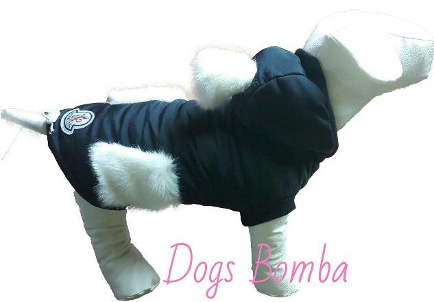 Куртка с меховым бубоном черная для собак DogsBomba