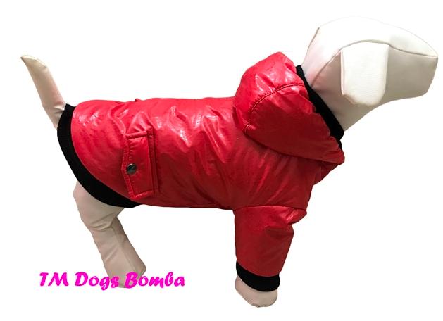 Куртка с карманами красная для собак DogsBomba