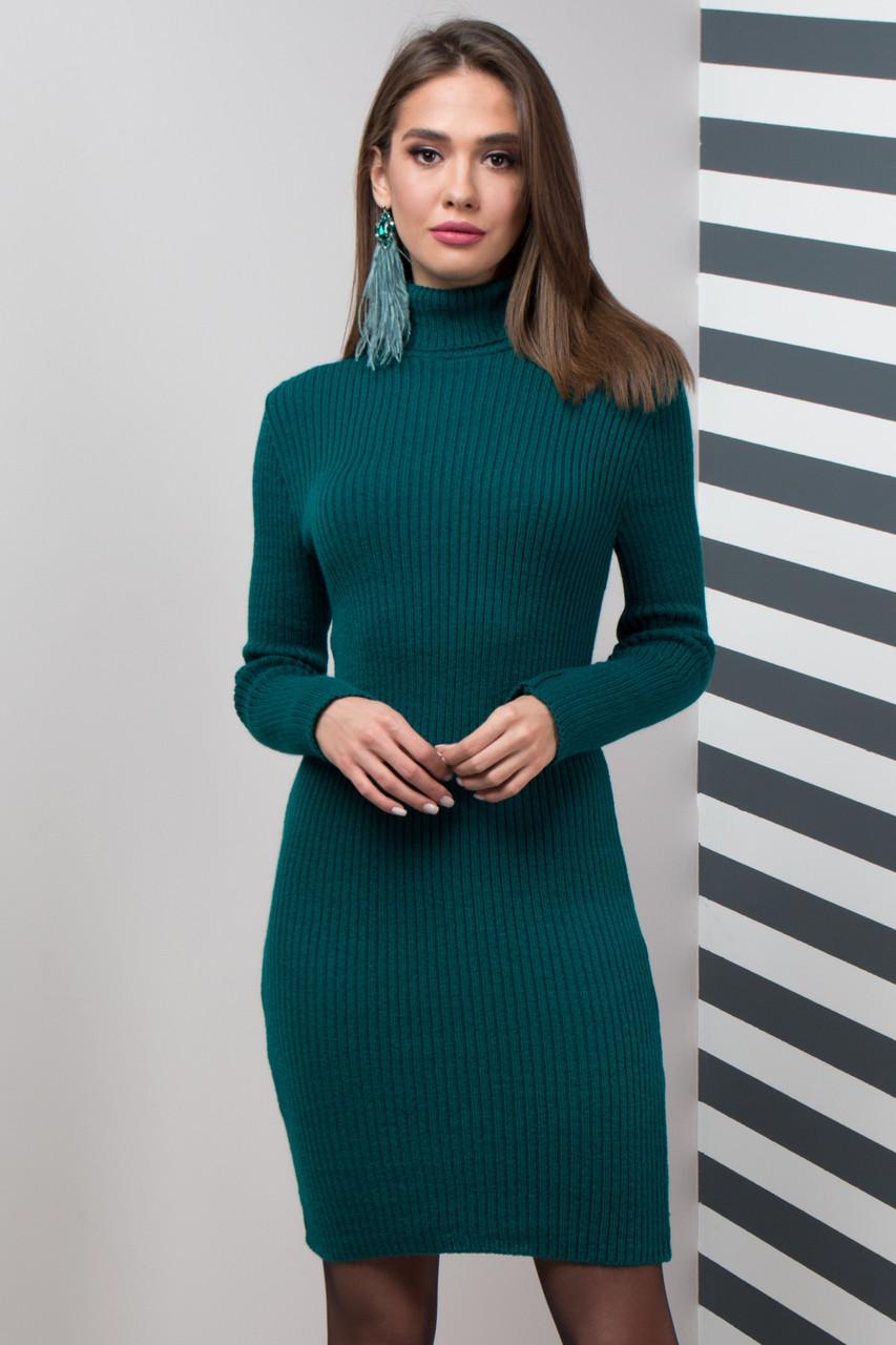 Теплое вязаное платье для офиса (3 цвета)