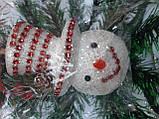 Новогодние украшения на елку Набор Снеговик 3 штуки, фото 3