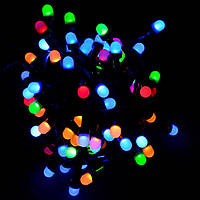 Светодиодная гирлянда Линза 300 Led 23 м, цвет мультиколор 8 режимов, черный провод, фото 1