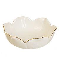 """Керамическое полуглубокое блюдо """"Белый лотос"""" диаметр 17 см"""
