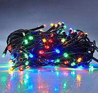 Светодиодная гирлянда 100 Led 8 м, цвет мультиколор 8 режимов, черный провод, фото 1