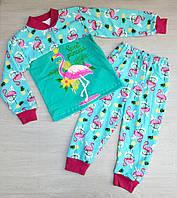 """Пижама детская байковая с фламинго  на девочку 2-6 лет """"MARI"""" купить оптом в Одессе на 7 км"""