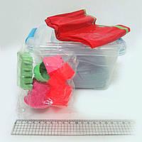 Набор кинетического песка в пластик.конт. 1кг с форм.6шт. и бассейн.40*60см, mix6 (кварц.осн)