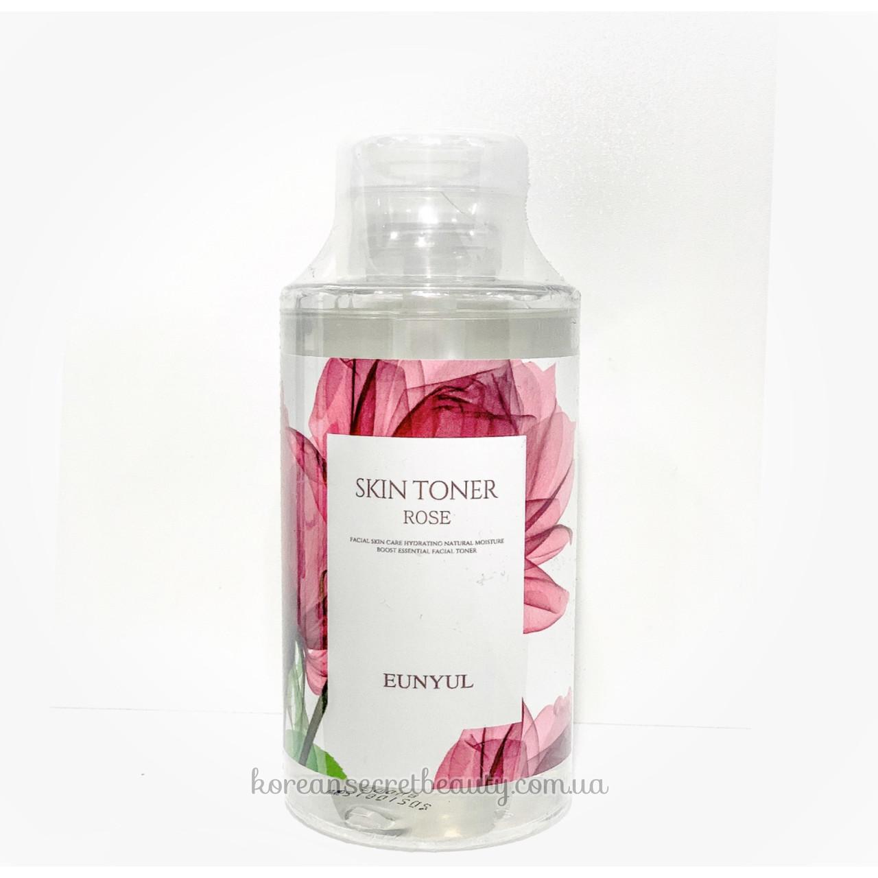 Тонер заспокійливий з трояндою Eunyul skin toner Rose