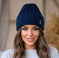 Женская стильная вязанная шапка с отворотом Симона
