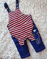 Комбинезон детский джинсовый утепленный  зима-осень 1-4 года унисекс, фото 3