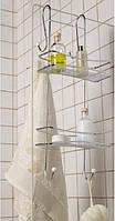 "Пряма 2-х ярусна полиця для душової кабіни Primanova ""FEST"" 25*10*62 см (хром)"