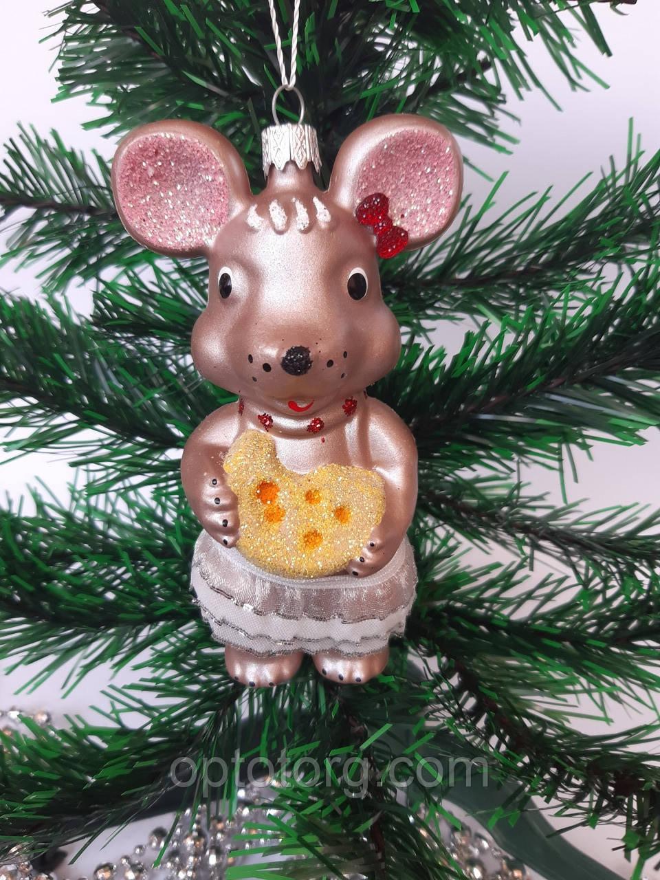 Новогодние игрушки на елку Мышь бронзовая 12 см*7 см