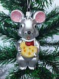 Новогодние игрушки на елку Мышь бронзовая 12 см*7 см, фото 2