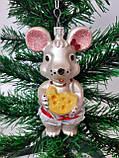 Новогодние игрушки на елку Мышь бронзовая 12 см*7 см, фото 3