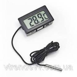 Термометр градусник цифровой с LCD выносной датчик MHZ TPM-10 черный