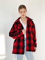 Женское пальто-рубашка в клетку, фото 1
