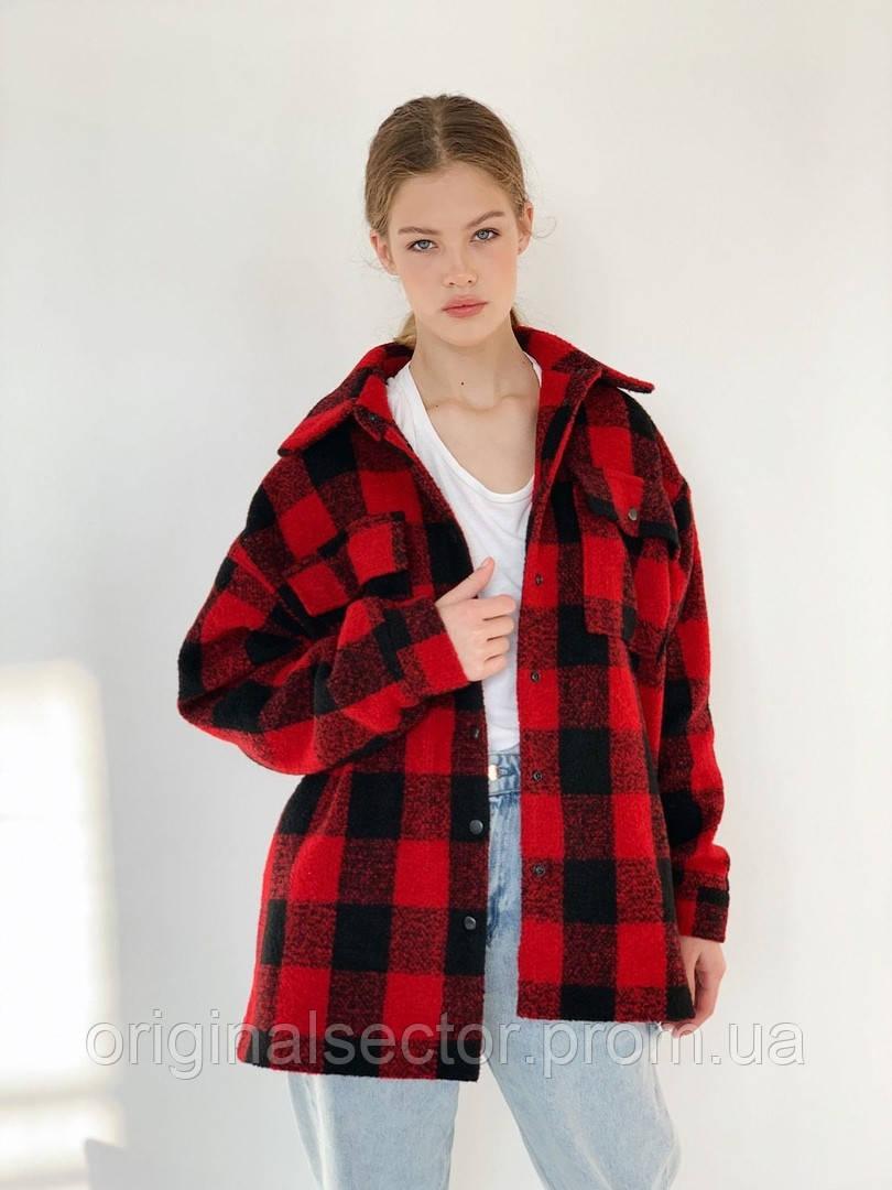 Женское пальто-рубашка в клетку