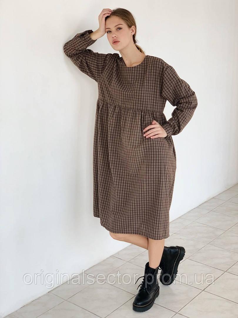 Женское свободное байковое платье