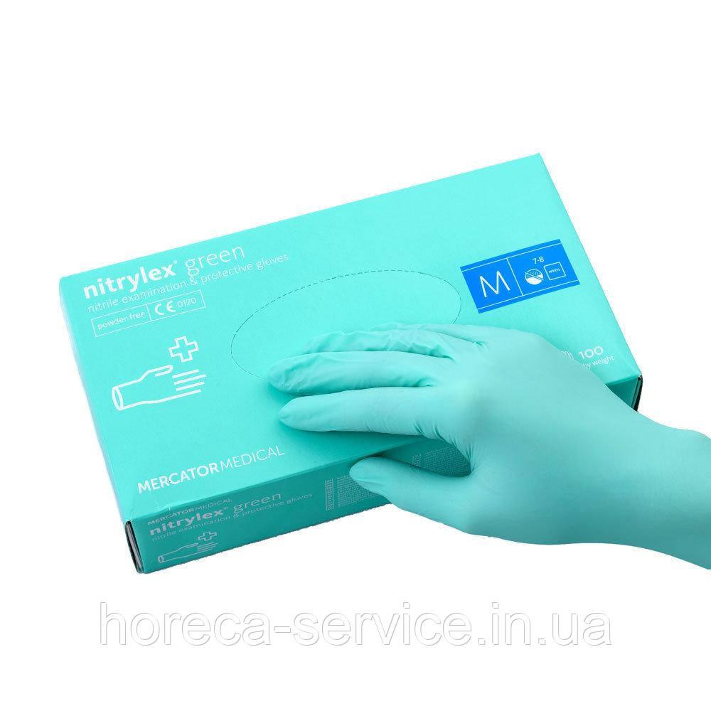 Перчатки Mercator Medical Nitrylex GREEN Нитриловые зеленые 50 пар,S