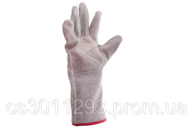 """Перчатки Intertool - замшевые краги 35 см х 14"""" (серые), фото 2"""