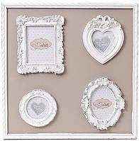 Рамка-коллаж деревянная Sweet White на 4 фото доска 36х36 см psgBD-493-570, КОД: 1143495