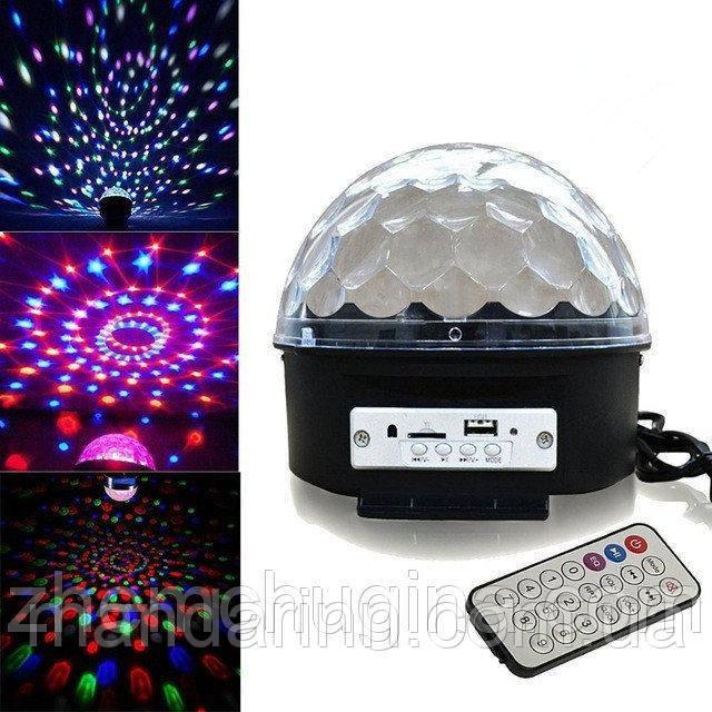 МУЗЫКАЛЬНЫЙ ДИСКО ШАР LED CRYSTAL MAGIC BALL LIGHT MP3 SD CARD