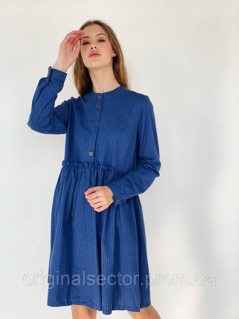 Синее фланелевое платье-рубашка