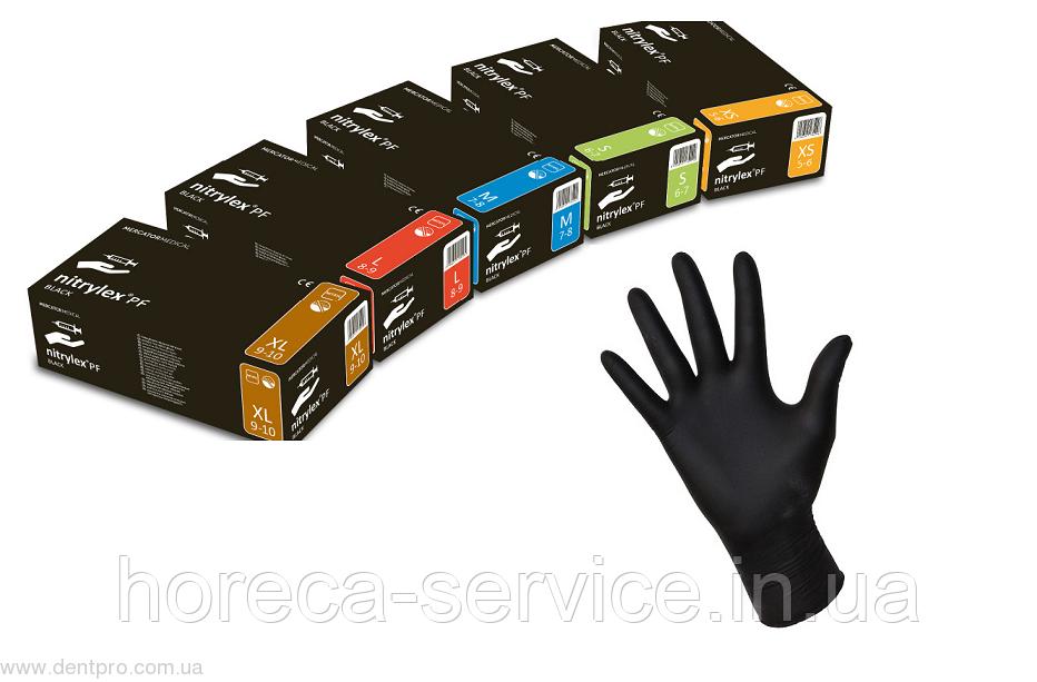 Перчатки нитриловые неопудренные Mercator Meducal Nitrylex BLACK черные,размер XS 50 пар