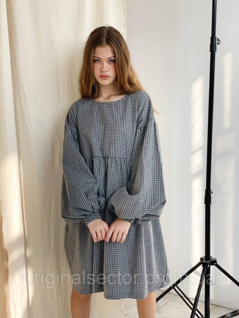 Свободное стильное платье в клетку, фото 1