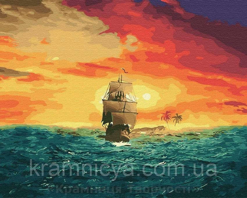 Картина по номерам Brushme 40х50 Корабль на закате (GX27893)