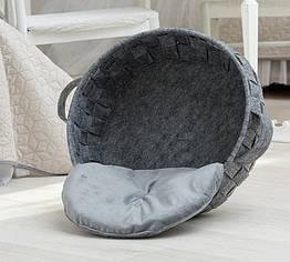 Корзинка-лежак для животных DigitalWool плетеная с подушкой Серый DW-91-04, КОД: 1103722
