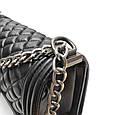 Сумочка реплика Шанель Бой структура ромбиками / натурльная кожа #951 Черный, фото 9