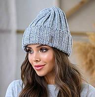 Женская стильная вязанная шапка с люрексом Серена