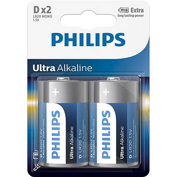 Батарейка PHILIPS D LR20 Ultra Alkaline * 2 (LR20E2B/10)
