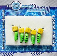 Мормышка вольфрамовая |492| столбик с сырным кубиком (зелёный) 2,5 0,8g