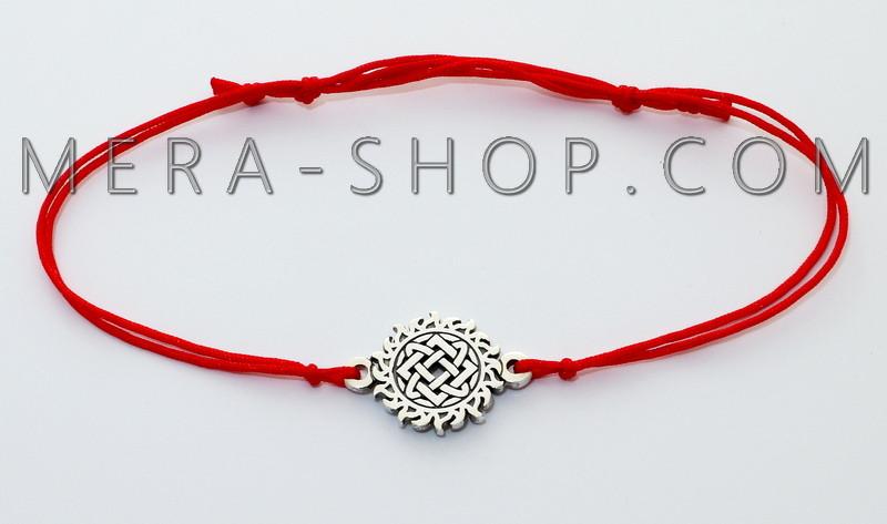 Браслет с оберегом Звезда Руси из серебра 925 пробы, красный