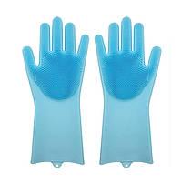 Силіконові рукавиці SUNROZ для миття посуду зі щіточкою Блакитний SUN2569, КОД: 366907