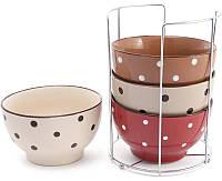 Набор 4 керамические пиалы Цветной горох Кофе-крем 500 мл на подставке psgBD-344-111, КОД: 1143658