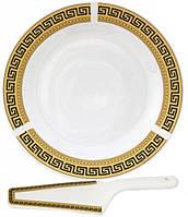 Набор для торта Греция блюдо 27 см и лопатка 27 см Керамика psgST-3085-10, КОД: 944675