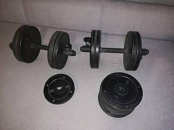 Гантели обрезиненные Vasil - 2 грифа + 30 кг блинов (итого 35 к)