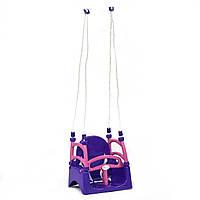 Качели детские пластиковые подвесные 3в1 от 1 года до 12 лет фиолетово розовые для девочек Doloni Toys