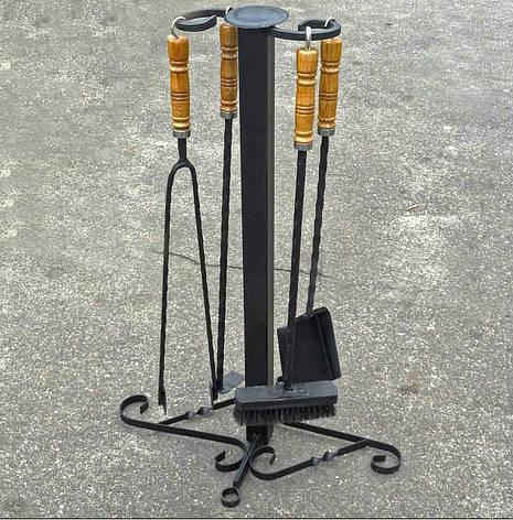 """Кованый мангальный набор """"Светлые бочонки"""" (щипцы для углей, кочерга, совочек, щетка), фото 2"""