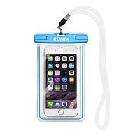 Чехол для мобильного телефона ROMIX водонепроницаемый флюорисцентный Голубой RH11BL, КОД: 134030