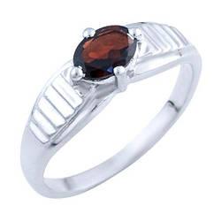 Серебряное кольцо Silver Breeze с натуральным гранатом 19 размер 0332062, КОД: 1193287